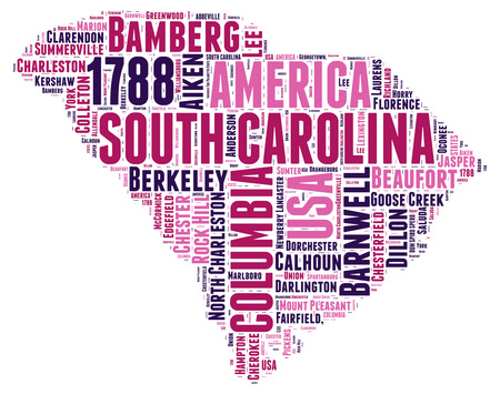 South Carolina USA state map tag cloud illustration Banco de Imagens