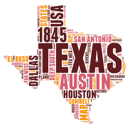 Texas USA state map tag cloud illustration illustration