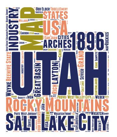 Utah Usa state tag cloud map shaped  illustration