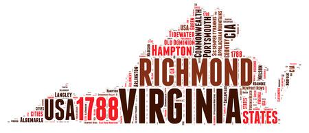 word art: Virginia USA state map tag cloud illustration