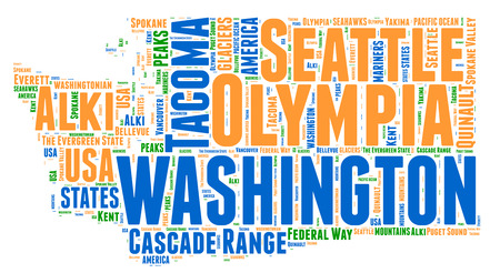 Washington USA state map tag cloud illustration illustration
