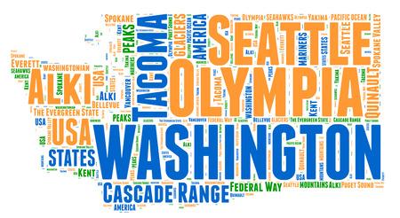 Washington USA state map tag cloud illustration