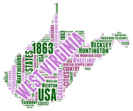 virginia: West Virginia USA state map tag cloud illustration Stock Photo