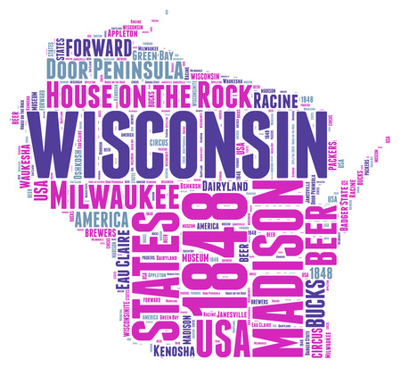 wisconsin flag: Wisconsin USA state map tag cloud illustration