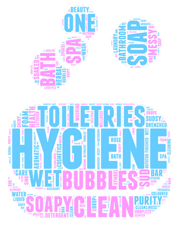 Soap bar and bubbles tag cloud illustration for hygiene concept  Vector