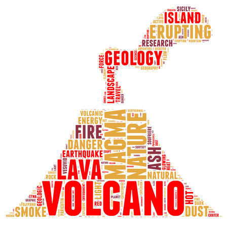 Volcano pictogram tag cloud vector illustration Vector