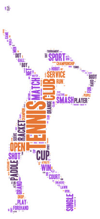 Tennis shot tag cloud vector silhouette Vector