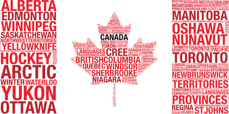 calgary: Canadian flag tagcloud vector illustration