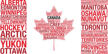 Canadian flag tagcloud vector illustration