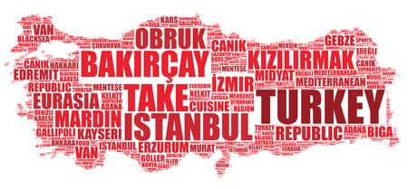 on top of the world: Turkey national map silhouette vector illustration tag cloud