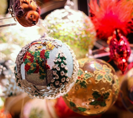 stitch: Christmas ornament snowman stitching Stock Photo