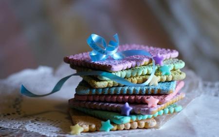 wish: Rainbow cookies handwritten wish Stock Photo
