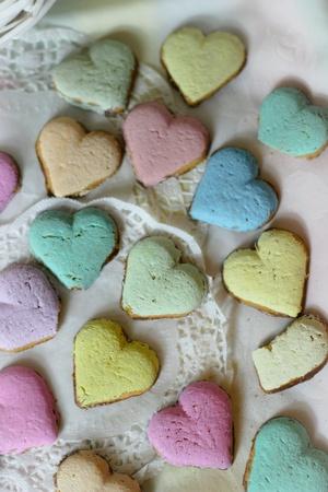 wish: Romantic rainbow cookies hearts collage