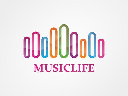 музыка: Векторный логотип элемент дизайна с шаблоном визитной карточки. Иллюстрация