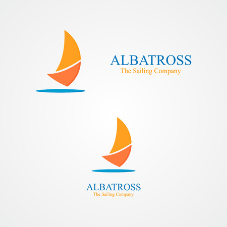 yacht isolated: Vector logo design element with business card template.