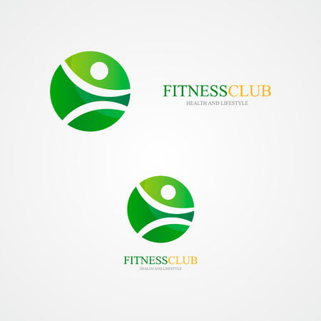 fitness dance: Vector  design element with business card template.