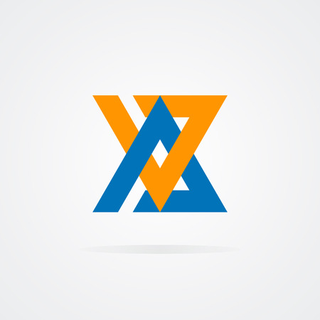 v alphabet: Vector design element with business card template.