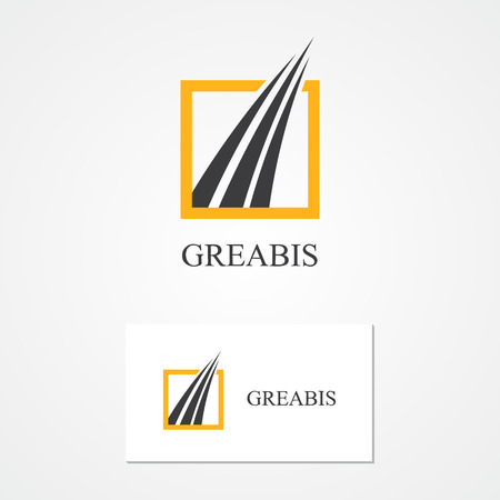 construction firm: Vector logo design element with business card template.