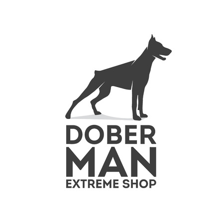 beware dog: Vector logo design element with business card template.