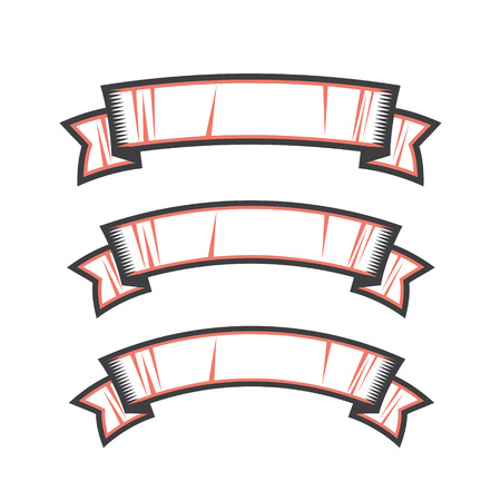 Collection of vector ribbon elements for creating badges and labels.