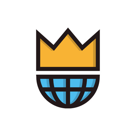 World globe wearing a crown, king of the world or champion concept Vector