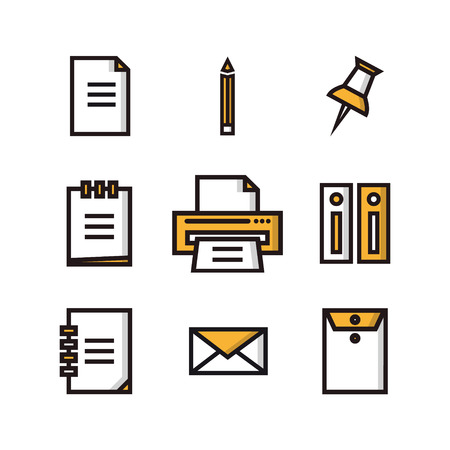 documentary: Flat icons big set of business and marketing objects office and working equipment communication and technology items