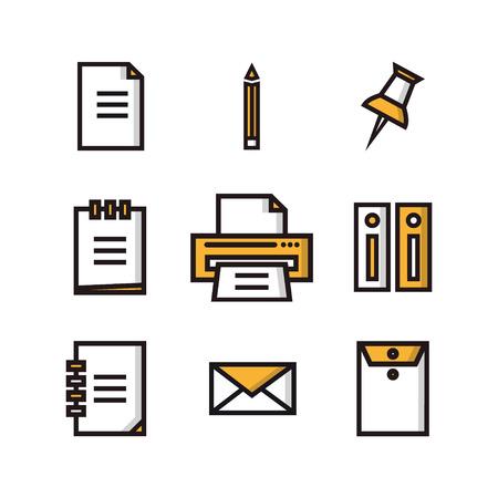 Iconos planos gran conjunto de negocios y comercialización de objetos de oficina y artículos de trabajo de comunicación y la tecnología de los equipos Vectores