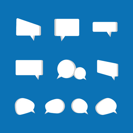white color: Set of speech bubble icons in white color Illustration
