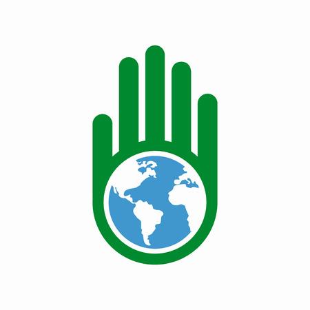 earth hands: Vector logo design element with business card template.