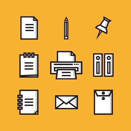documentation: Flat icons big set of business and marketing objects office and working equipment communication and technology items