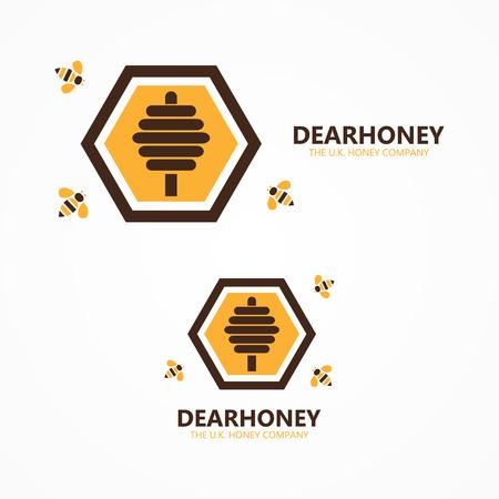 abejas: Vector elemento de dise�o con tarjeta de plantilla.