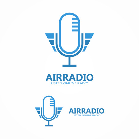 microphone: Vector design element with business card template.