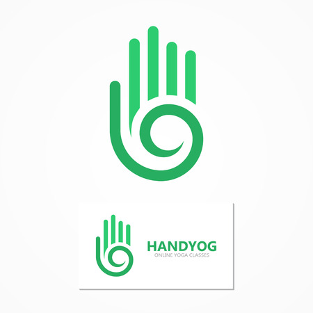 hand prints: Vector design element with business card template.