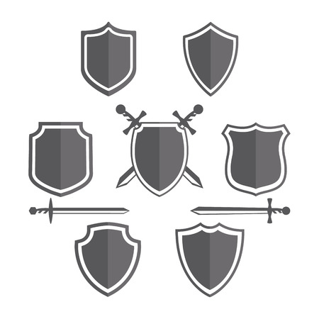 shield set: Vector design element with business card template.