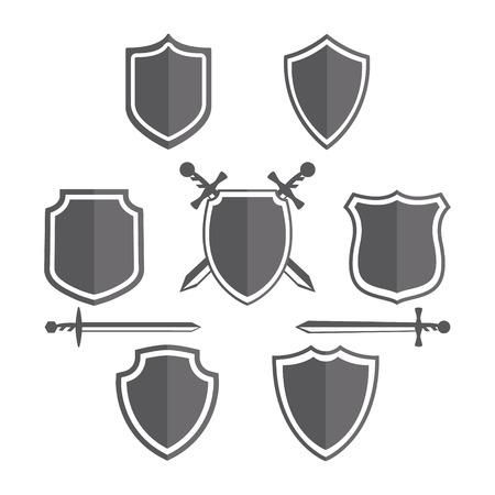 escudo: Vector elemento de diseño con tarjeta de plantilla.
