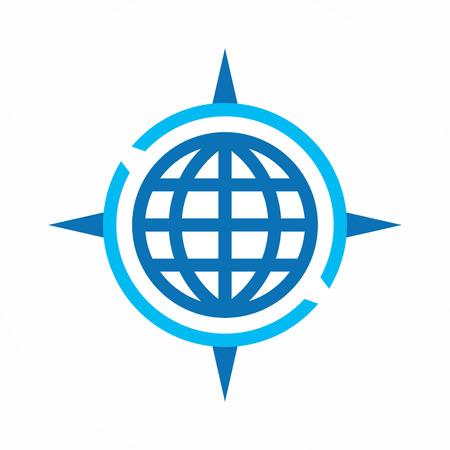 bussola: Vector logo elemento di design con modello di biglietto da visita. Vettoriali