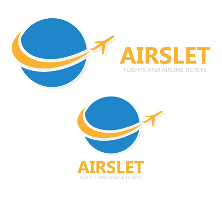 airplane wing: Vector logo design element with business card template.