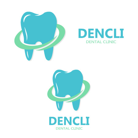dental: Vector logo design element with business card template.