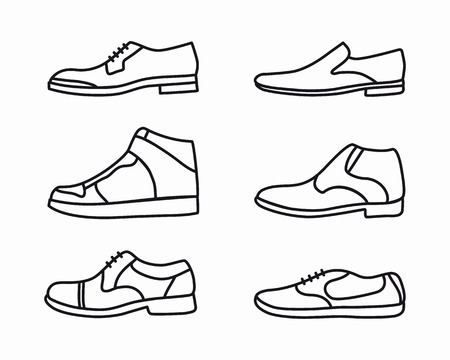 walking shoes: set of fashion shoes outline icons