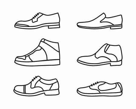 set van mode schoenen schets iconen