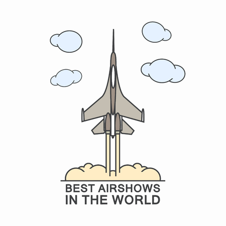 Military airplane in the sky. Typography vector concept. Ilustracja