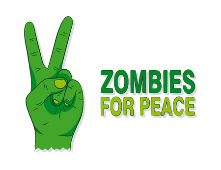 Zombie hand peace symbol vector design template. Illustration