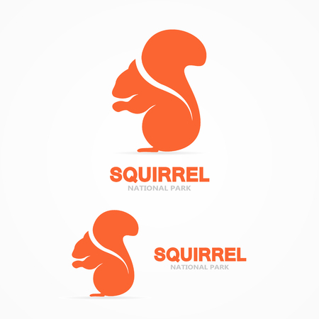 isolated squirrel: Vector or icon design element for companies Illustration