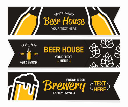 horizontal bar: Set with brewery and beer banners collection.
