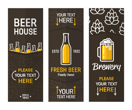 Set with brewery and beer banners collection.