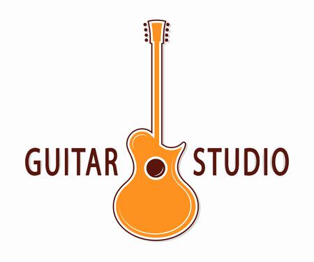 guitarra acustica: Vector logo o icono elemento de diseño para empresas