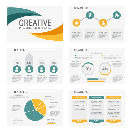 power concept: Vector template for presentation slides with graphs and charts