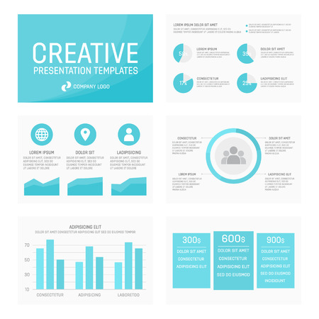 slide show: Vector template for presentation slides with graphs and charts