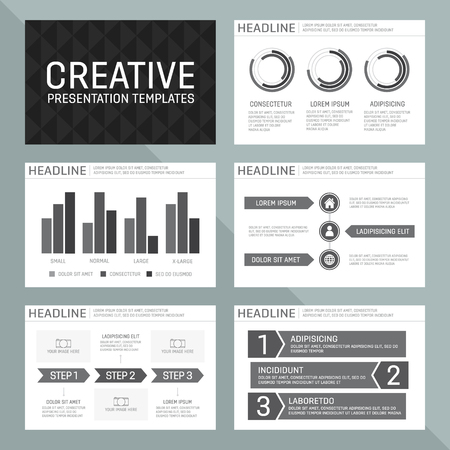 Vector template for presentation slides with graphs and charts