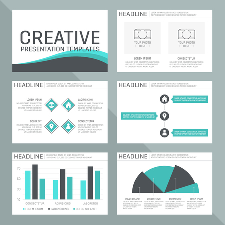 power point: Vector template for presentation slides with graphs and charts